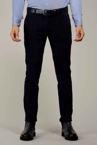 blue trousers structured fustian slim Angelico