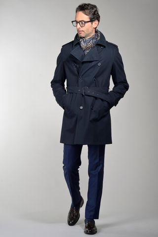 navy trench coat with detachable padding Angelico