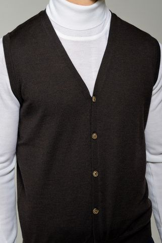brown buttoned vest merino wool Angelico