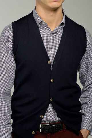navy buttoned vest merino wool Angelico