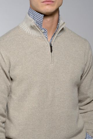 natural zip neck sweater  melange wool-cashmere Angelico