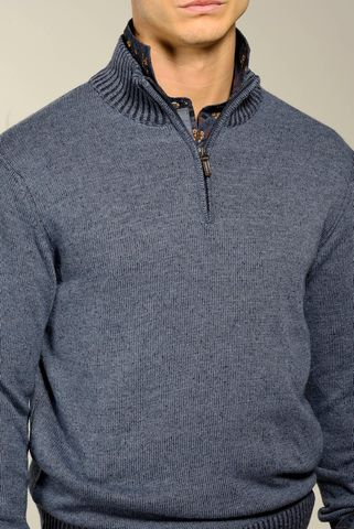 blue jeans zip neck sweater melange wool-cashmere Angelico