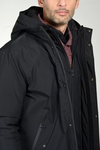 black hooded heavy-jacket with bib Angelico