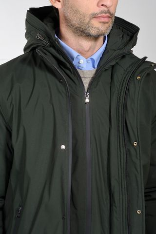 green hooded heavy-jacket with bib Angelico