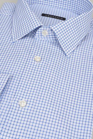 camicia bianca quadretto blu Angelico