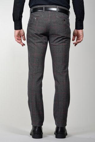 pantalone galles grigio-bordeaux slim cotone Angelico