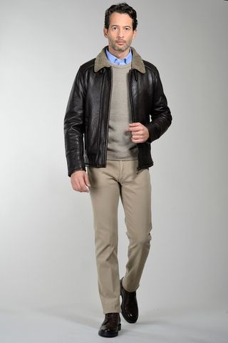 dark brown leather jacket with fur Angelico