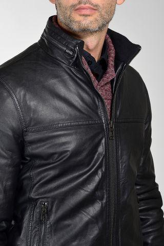 padded black soft leather bomber Angelico