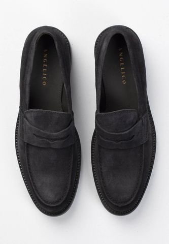 blue suede moccasin Angelico