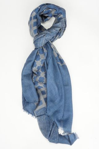 blue scarf double-face plain-checked Angelico