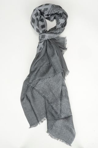 gray scarf double-face plain-checked Angelico