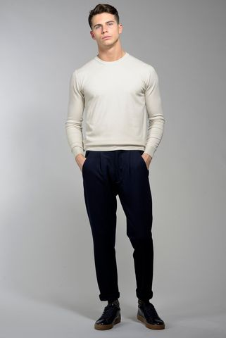 ivory wool-cashmere sweater with patches Angelico