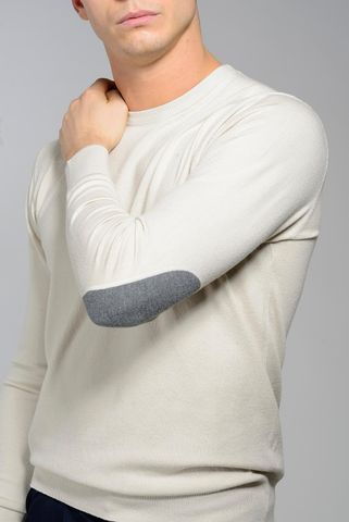 maglia gesso lana-cashmere con toppe Angelico