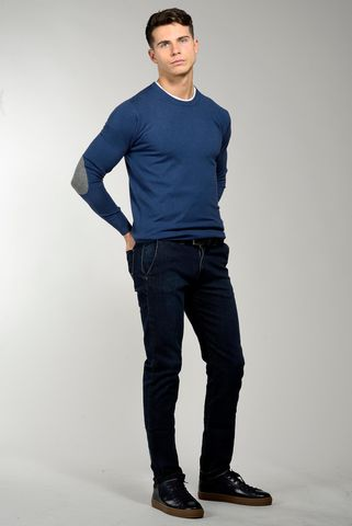 blue wool-cashmere sweater with patches Angelico