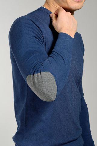 maglia blu medio lana-cashmere con toppe Angelico