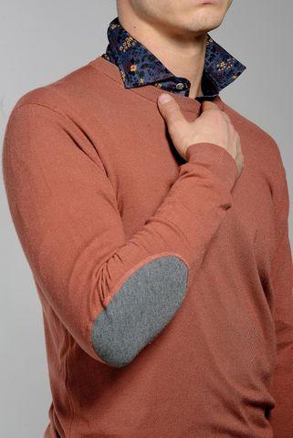 maglia mattone lana-cashmere con toppe Angelico