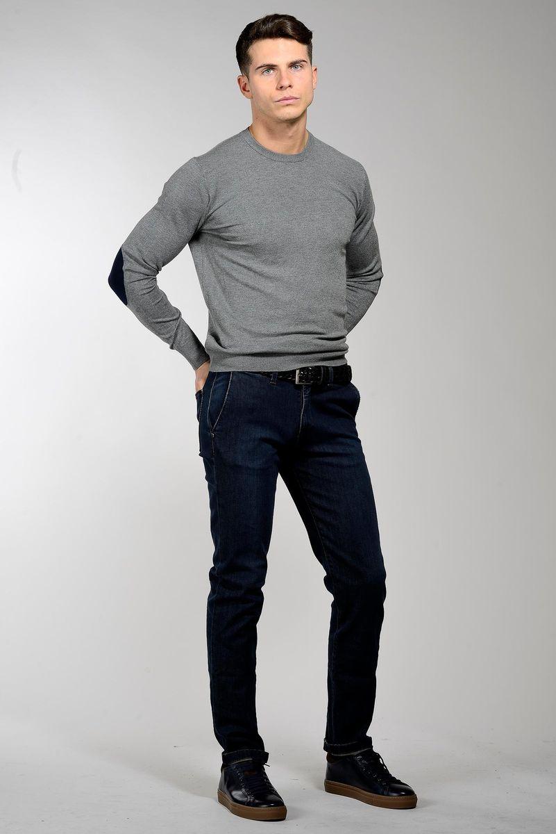 maglia grigia lana-cashmere con toppe Angelico