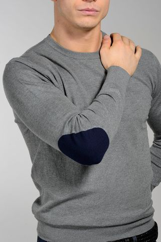 grey wool-cashmere sweater with patches Angelico