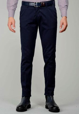 navy trousers tricotina stretch slim Angelico
