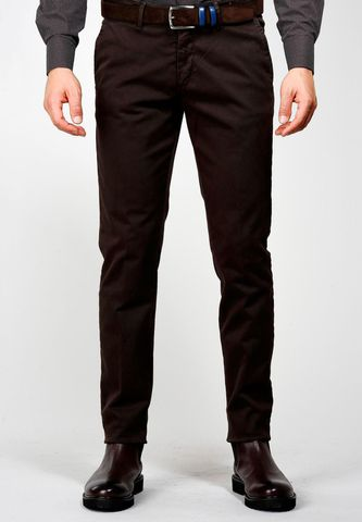 brown trousers tricotina stretch slim Angelico