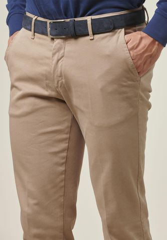 beige trousers tricotina stretch slim Angelico