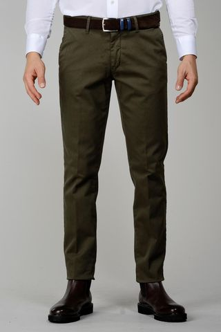 militar green trousers tricotina stretch slim Angelico