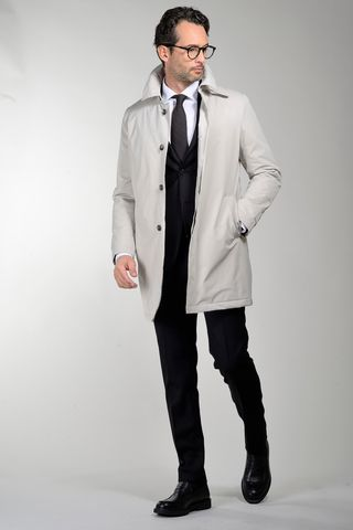 white technical coat removable padding Angelico