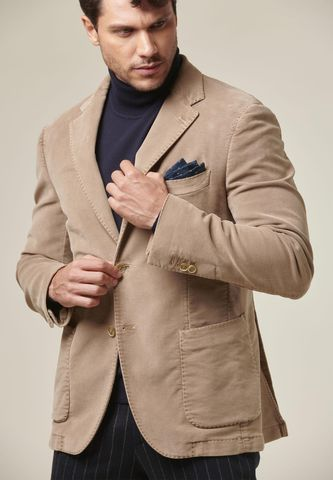 camel moleskin jacket garment dyed Angelico