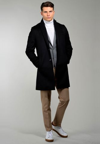 black coat with 2 buttons wool-cashmere Angelico