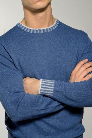 royal blue crew-neck sweater high edges Angelico