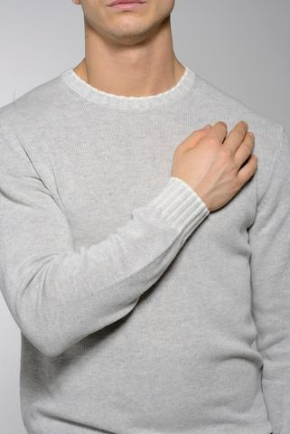 pearl grey crew-neck sweater high edges Angelico