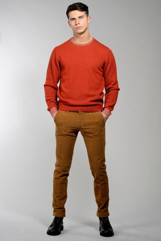 brick crew-neck sweater high edges Angelico