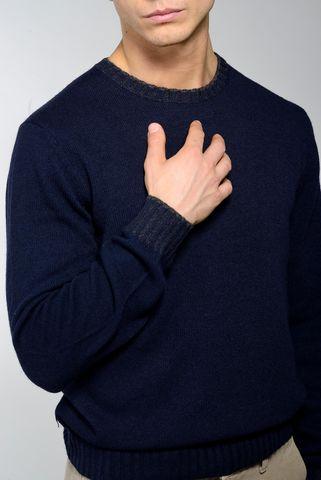 navy crew-neck sweater high edges Angelico