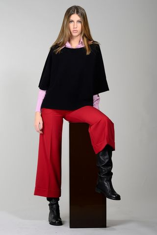 wide black merino sweater boat neck Angelico