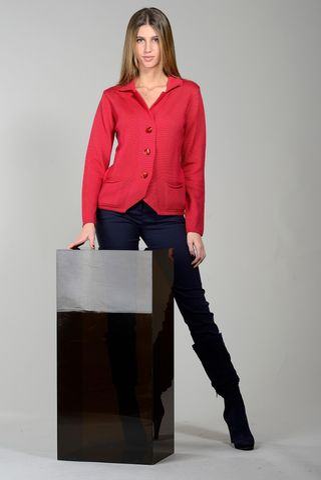 coral merino cardigan jacket. Angelico