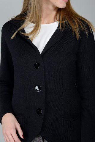 cardigan nero a giacca merino Angelico