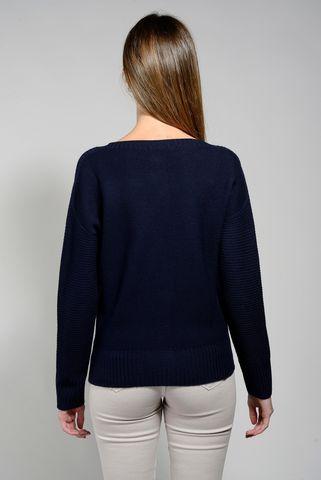cardigan blu chanel lana merino Angelico