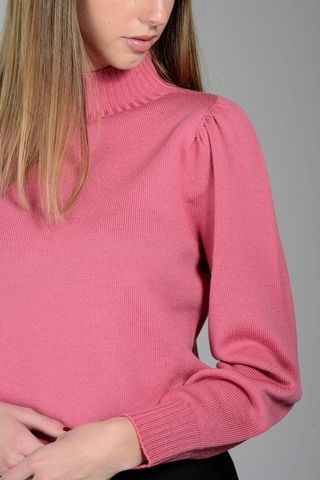 fuchsia mock neck sweater merino wool Angelico
