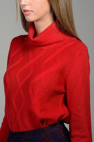 red donut turtleneck merino with rhombus Angelico