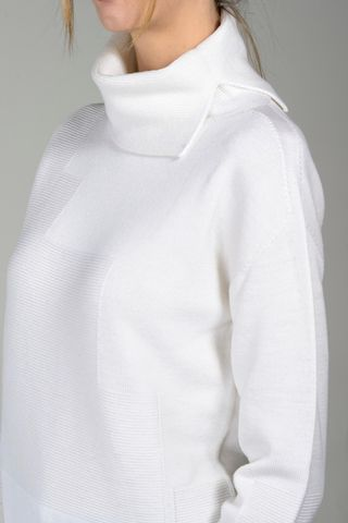 cream turtleneck with inlays merino Angelico