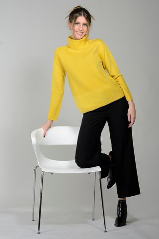 yellow woman turtleneck with inlays merino Angelico