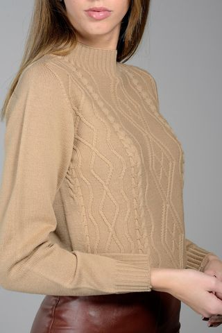 camel mock neck sweater with braids Angelico