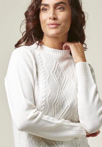 cream mock neck sweater with braids Angelico