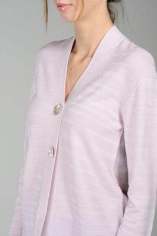cardigan rosa 2 bottoni operato merino Angelico
