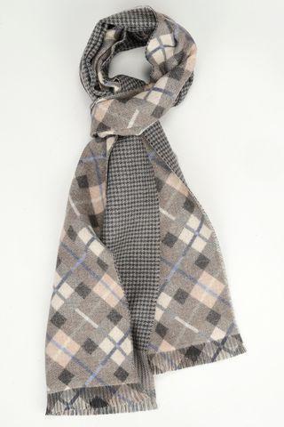 eige scarf diagonally plaid-houndstooth Angelico
