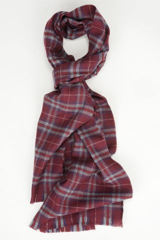 burgundy-grey checkered scarf wool Angelico