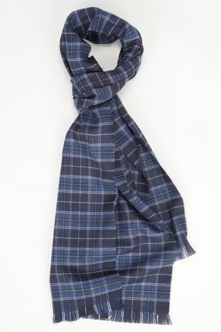 blue checkered scarf wool Angelico