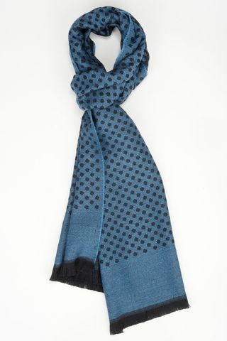 royal blue scarf with black polka wool Angelico