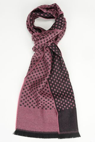 wine red scarf with black polka wool Angelico