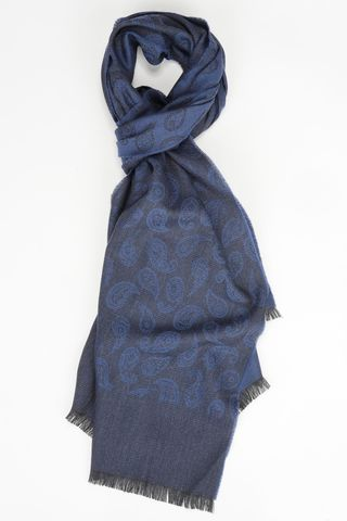 blue scarf with black drops motifs Angelico